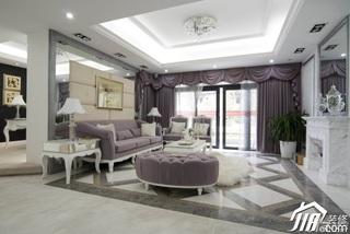 欧式风格别墅浪漫白色豪华型140平米以上客厅沙发效果图