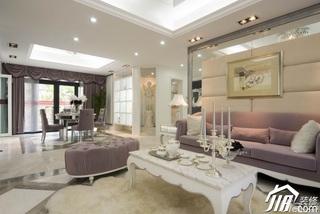 欧式风格别墅浪漫白色豪华型140平米以上客厅沙发背景墙沙发效果图