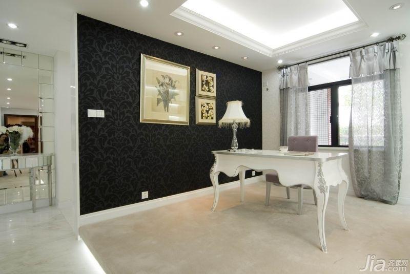 欧式风格别墅浪漫白色豪华型140平米以上书房背景墙书桌图片