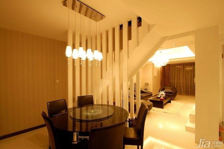 简约风格别墅大气暖色调富裕型140平米以上餐厅隔断灯具图片