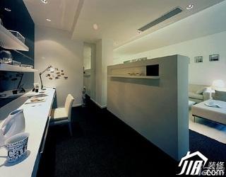 简约风格二居室温馨米色富裕型工作区隔断设计图纸