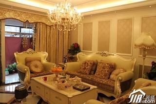 欧式风格三居室奢华暖色调10-15万130平米客厅沙发背景墙灯具效果图