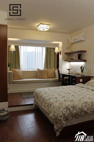 公寓米色140平米以上卧室飘窗窗帘效果图
