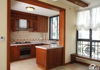 田园风格复式富裕型厨房橱柜安装图