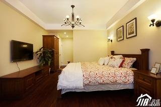 美式风格四房温馨富裕型140平米以上卧室卧室背景墙电视柜效果图