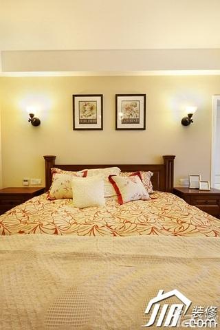 美式风格四房温馨富裕型140平米以上卧室卧室背景墙床效果图