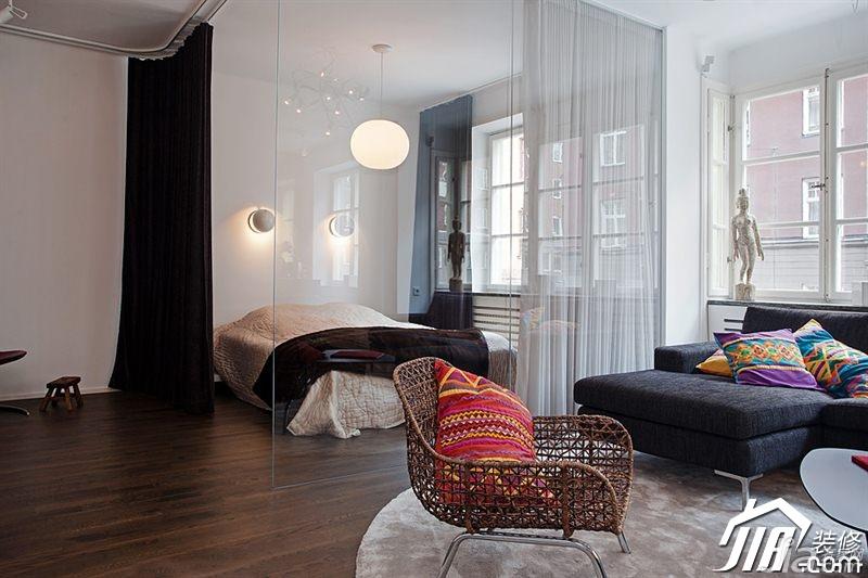 尚冷色调富裕型客厅客厅隔断设计高清图片
