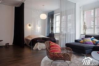欧式风格小户型时尚冷色调富裕型客厅客厅隔断装修效果图