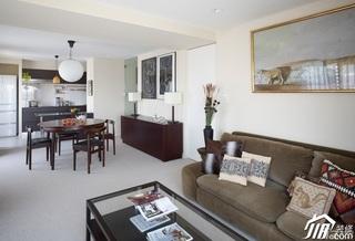 简约风格公寓大气白色富裕型60平米客厅沙发背景墙餐桌图片