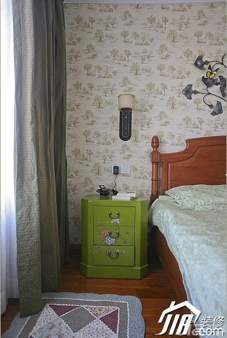 三米设计田园风格别墅富裕型卧室壁纸效果图