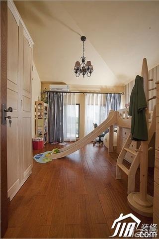 三米设计田园风格别墅富裕型儿童房儿童床效果图