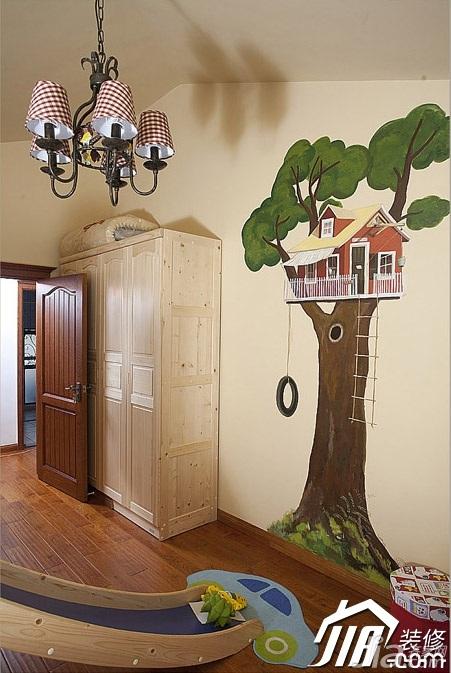 三米设计田园风格别墅富裕型儿童房卧室背景墙衣柜定做