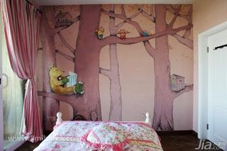 三米设计混搭风格公寓经济型130平米卧室背景墙窗帘效果图
