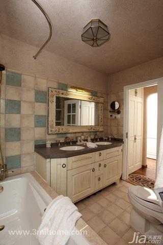 三米设计混搭风格公寓经济型130平米卫生间浴室柜图片