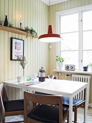 北欧风格公寓温馨黄色经济型60平米餐厅餐厅背景墙餐桌效果图