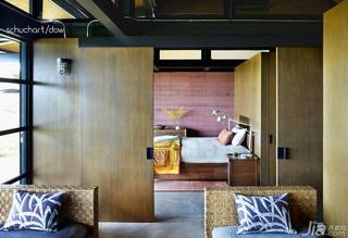 美式风格别墅原木色富裕型140平米以上卧室隔断床效果图