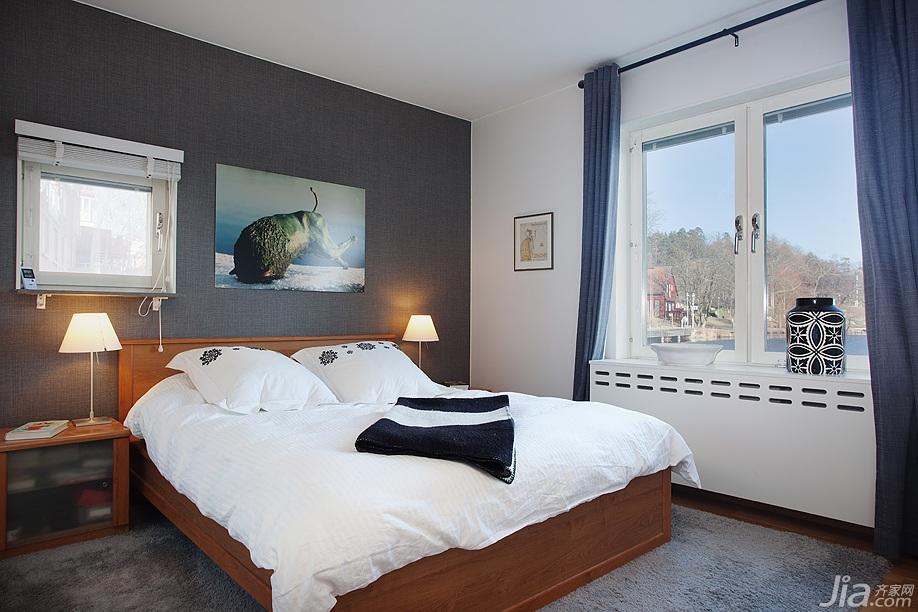 宜家风格别墅简洁经济型卧室卧室背景墙床图片