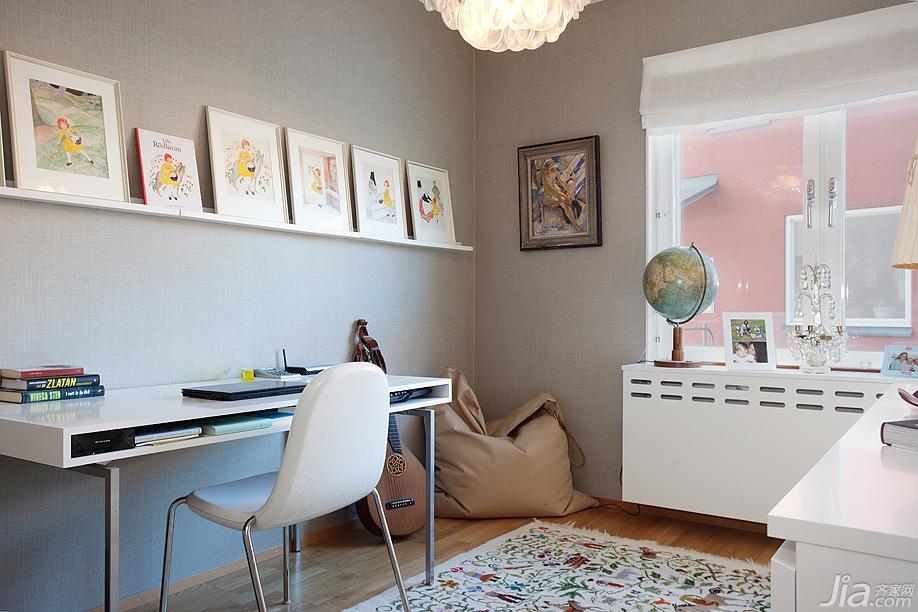 宜家风格别墅小清新经济型书房背景墙书桌图片