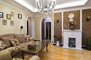 欧式风格小户型奢华经济型60平米客厅沙发背景墙茶几效果图