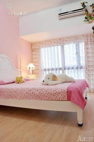 田园风格二居室粉色经济型90平米卧室窗帘效果图