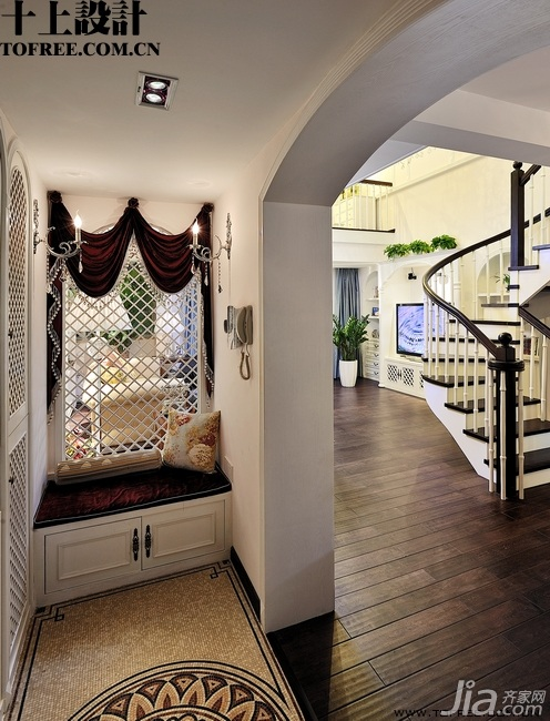 十上田园风格别墅富裕型门厅效果图