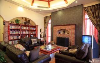 波普风格别墅民族风15-20万客厅电视背景墙沙发效果图