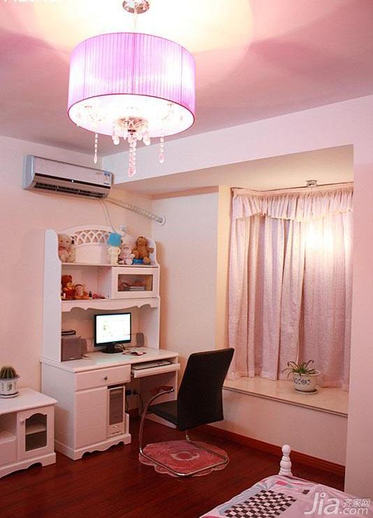 简约风格二居室温馨富裕型卧室飘窗书桌婚房平面图