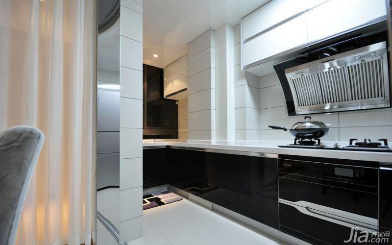 简约风格二居室大气黑白5-10万90平米厨房灯具图片