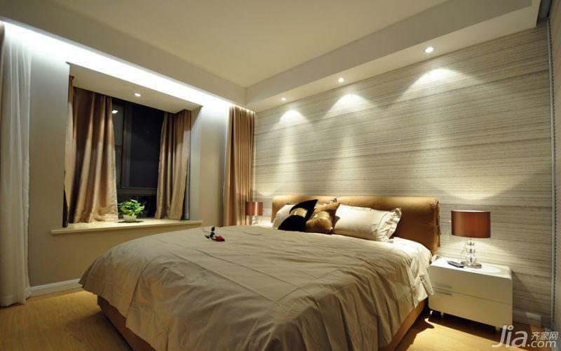 简约风格二居室温馨5-10万90平米卧室飘窗床效果图
