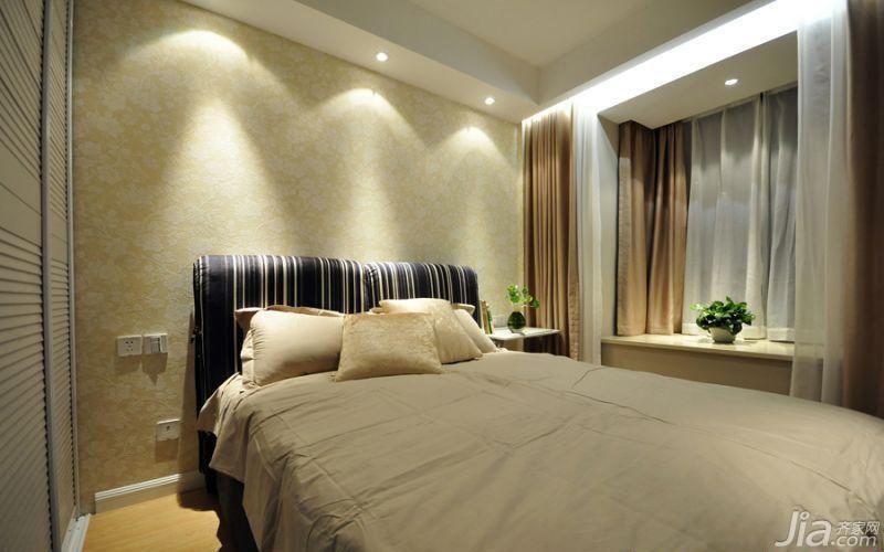 简约风格二居室温馨5-10万90平米卧室飘窗床图片