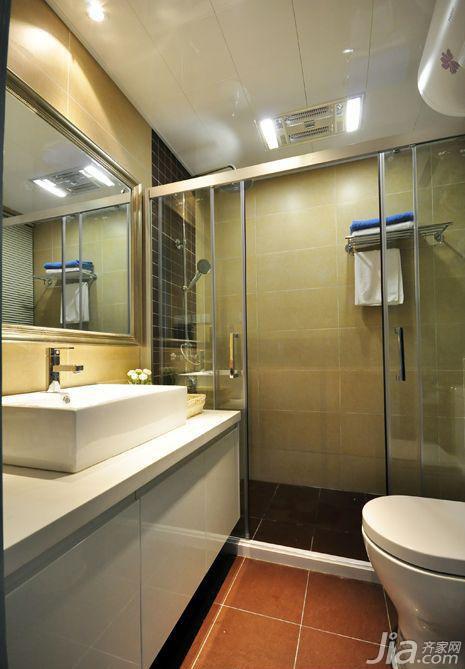 简约风格二居室5-10万90平米卫生间背景墙洗手台效果图