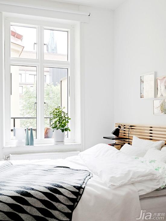 北欧风格公寓白色经济型卧室床图片