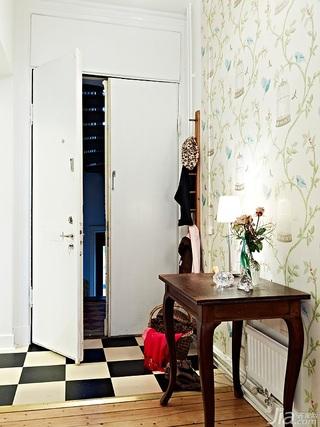 欧式风格公寓90平米玄关壁纸图片