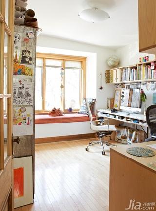 混搭风格复式富裕型书房飘窗书桌效果图