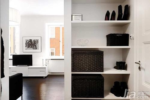 北欧风格公寓黑白经济型40平米玄关玄关柜效果图
