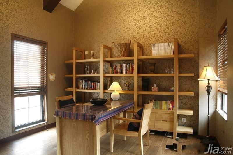 美式风格公寓富裕型130平米书房书架效果图