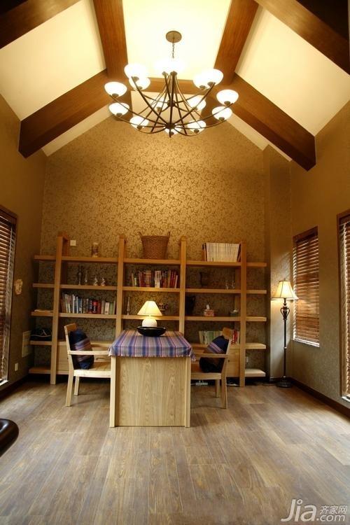 美式风格公寓富裕型130平米书房吊顶书架效果图