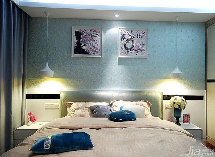 简约风格公寓卧室床图片