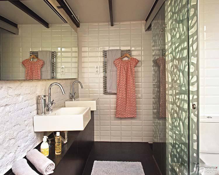 loft风格小户型简洁经济型70平米卫生间背景墙洗手台海外家居