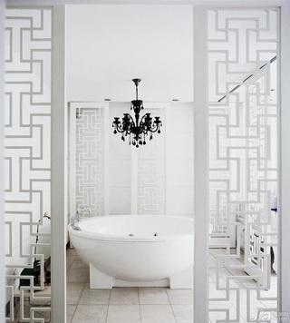 中式风格别墅豪华型卫生间隔断浴缸效果图