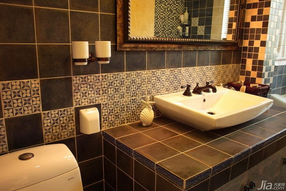 美式风格三居室经济型卫生间洗手台效果图