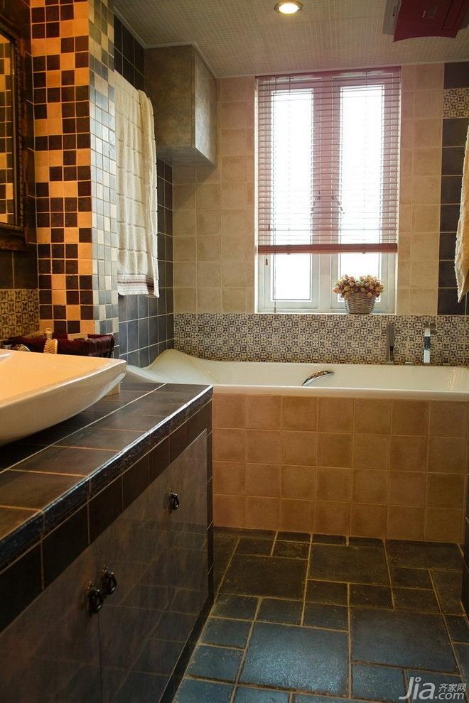 美式风格三居室经济型卫生间效果图