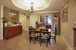 美式乡村风格三居室富裕型120平米餐厅餐厅背景墙餐桌效果图