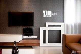 简约风格三居室130平米电视背景墙壁纸图片