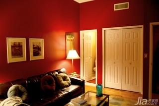 简约风格小户型橙色60平米沙发效果图
