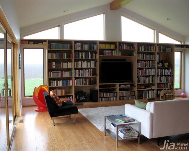 简约风格别墅富裕型客厅电视背景墙书架海外家居