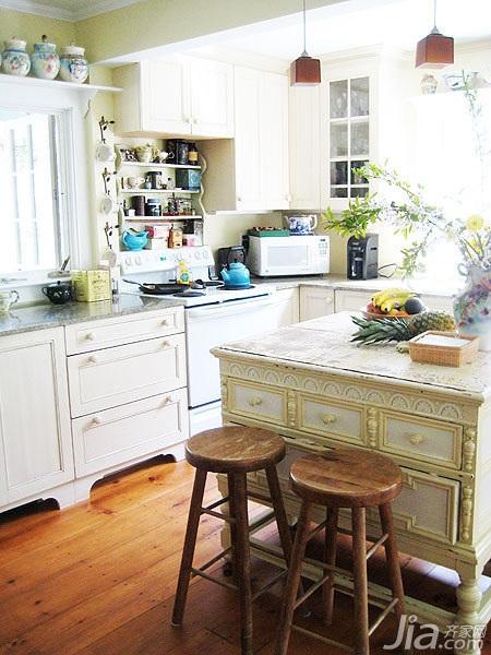 美式乡村风格别墅富裕型厨房吧台椅海外家居