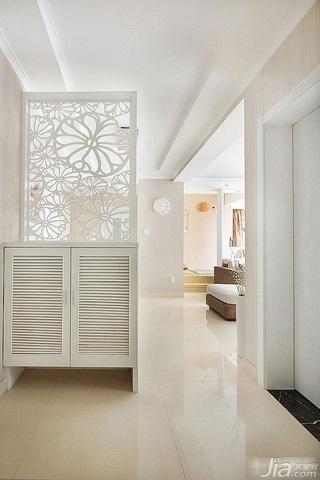 简约风格二居室白色富裕型玄关隔断鞋柜效果图
