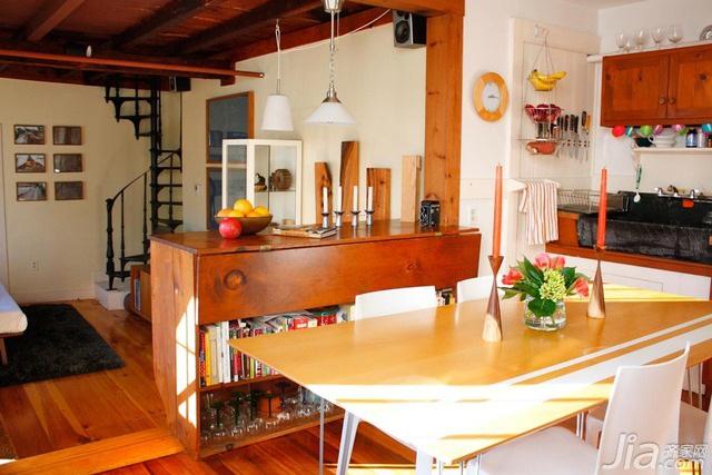 简约风格跃层简洁原木色富裕型厨房餐桌海外家居