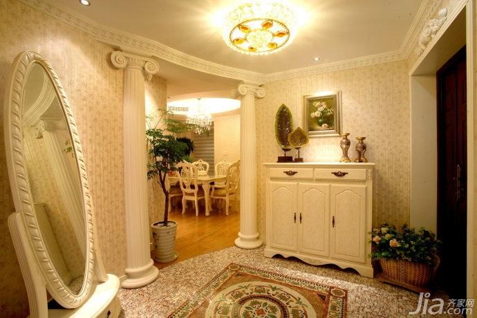 田园风格三居室富裕型140平米以上门厅玄关柜婚房平面图